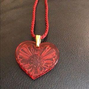 Lalique Carved Heart Pendant